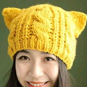 Unisex Women Men Wool Knit Cat Beanie Cap